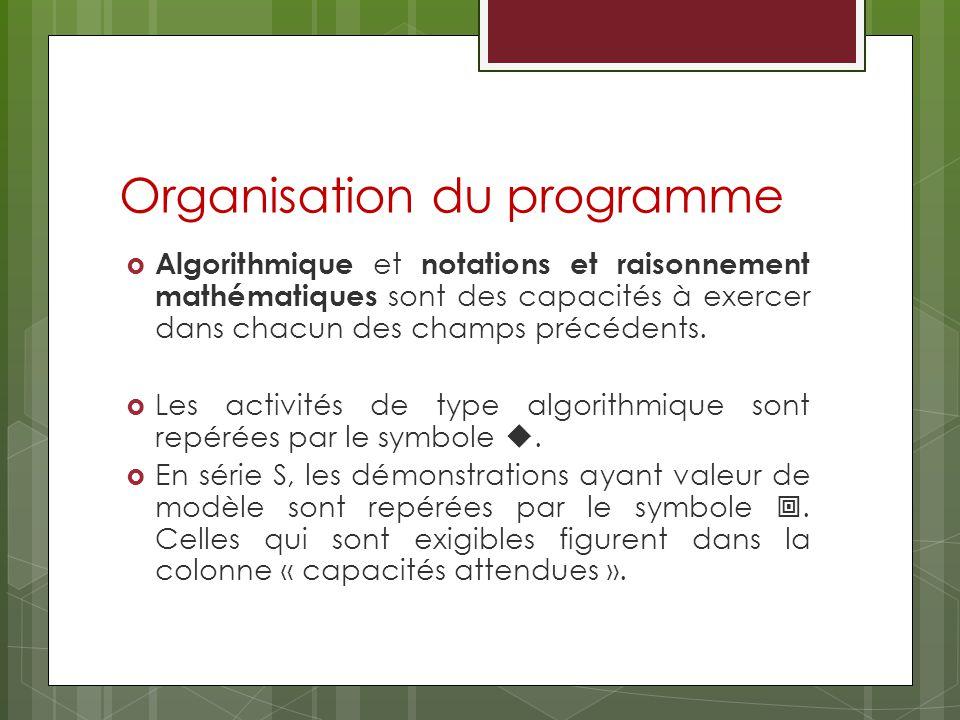 Organisation du programme Algorithmique et notations et raisonnement mathématiques sont des capacités à exercer dans chacun des champs précédents.