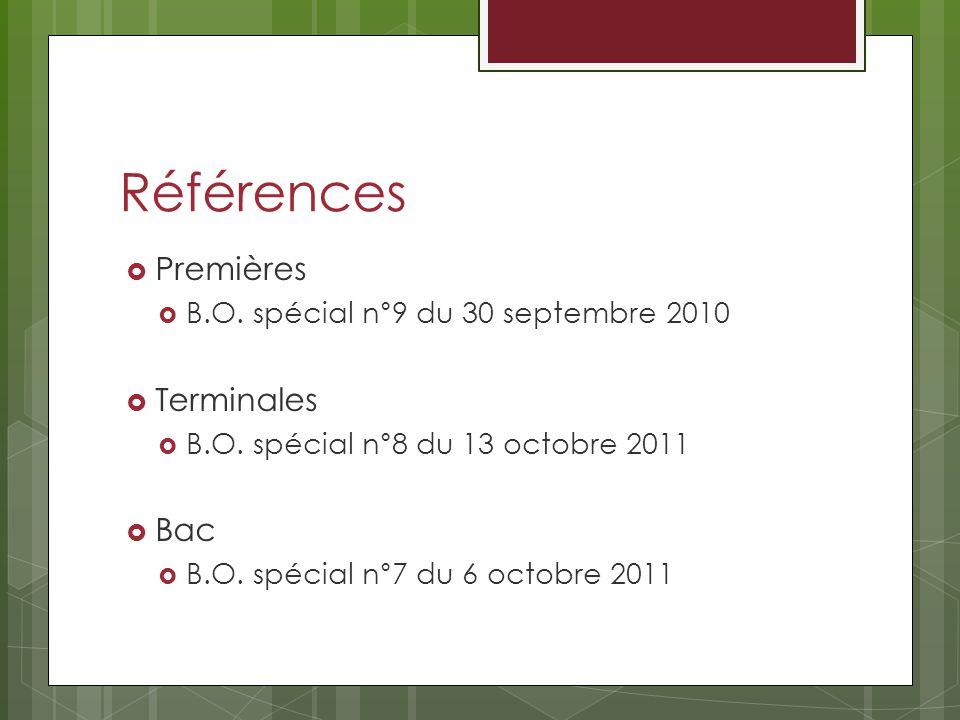 Références Premières B.O. spécial n°9 du 30 septembre 2010 Terminales B.O. spécial n°8 du 13 octobre 2011 Bac B.O. spécial n°7 du 6 octobre 2011
