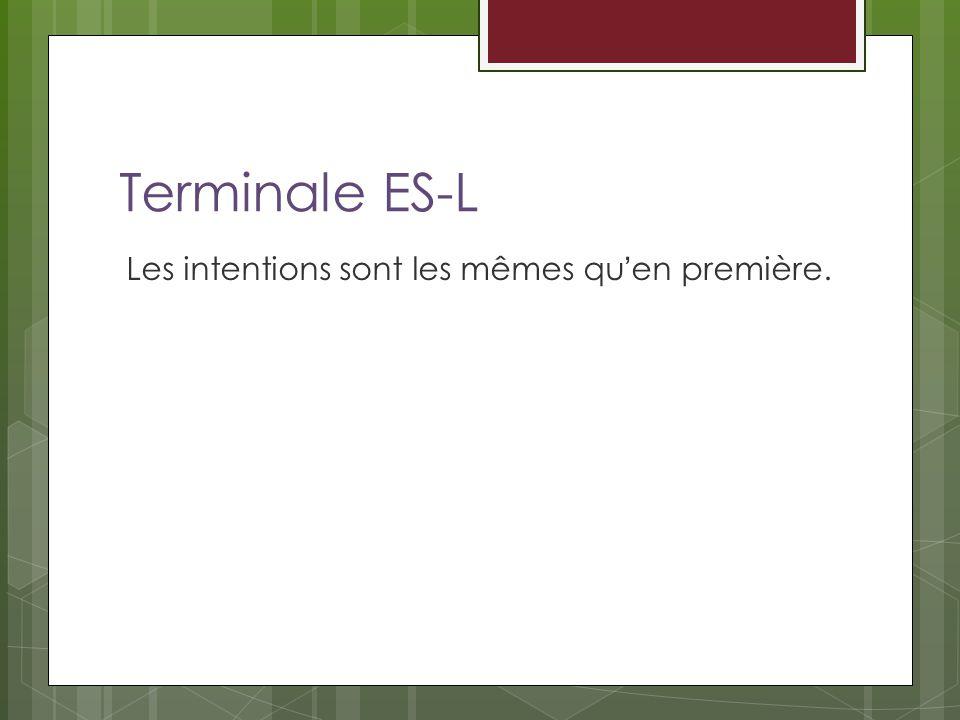 Terminale ES-L Les intentions sont les mêmes quen première.