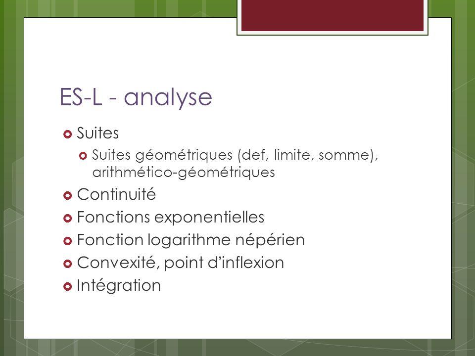 ES-L - analyse Suites Suites géométriques (def, limite, somme), arithmético-géométriques Continuité Fonctions exponentielles Fonction logarithme népérien Convexité, point dinflexion Intégration