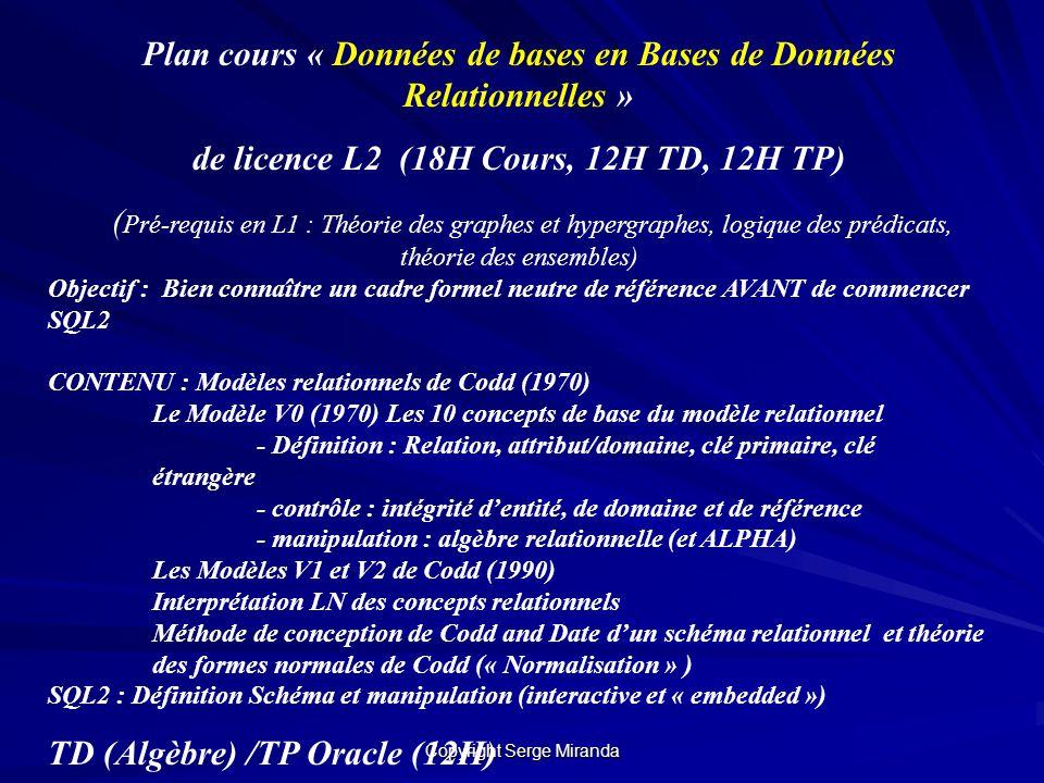 Copyright Serge Miranda Plan cours « Données de bases en Bases de Données Relationnelles » de licence L2 (18H Cours, 12H TD, 12H TP) ( Pré-requis en L