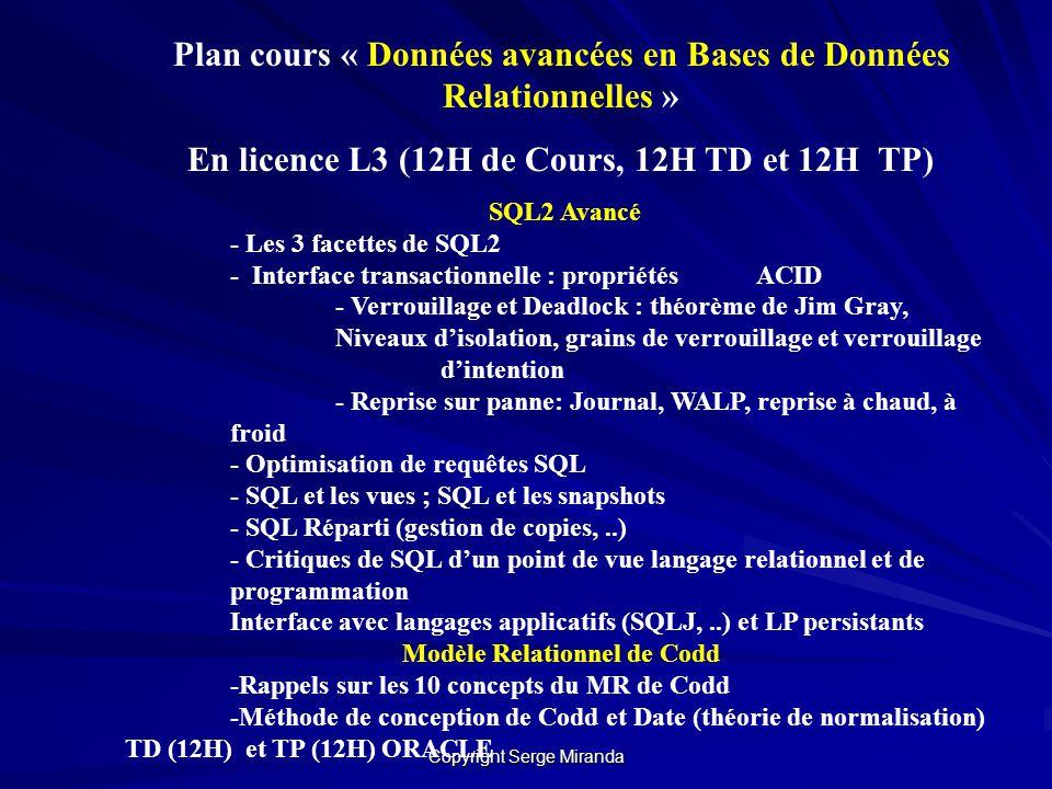 Copyright Serge Miranda Plan cours « Données avancées en Bases de Données Relationnelles » En licence L3 (12H de Cours, 12H TD et 12H TP) SQL2 Avancé