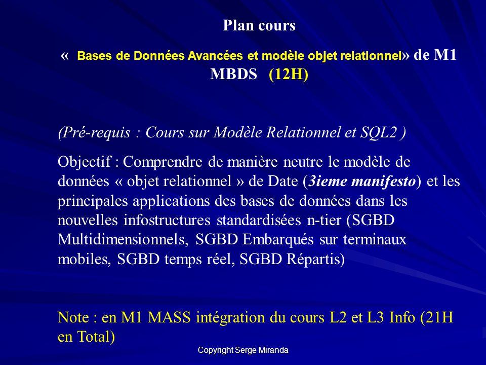 Copyright Serge Miranda Plan cours « Bases de Données Avancées et modèle objet relationnel » de M1 MBDS (12H) (Pré-requis : Cours sur Modèle Relationn