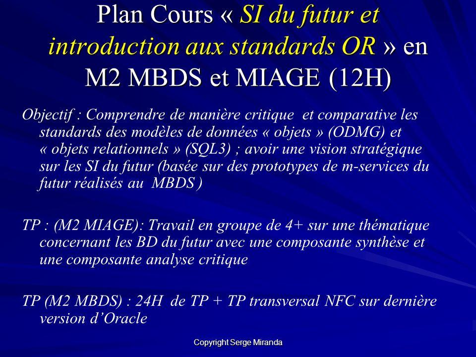 Copyright Serge Miranda Plan Cours « SI du futur et introduction aux standards OR » en M2 MBDS et MIAGE (12H) Objectif : Comprendre de manière critiqu