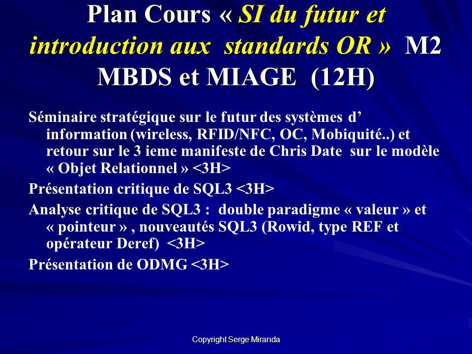 Copyright Serge Miranda Plan Cours « SI du futur et introduction aux standards OR » M2 MBDS et MIAGE (12H) Séminaire stratégique sur le futur des syst