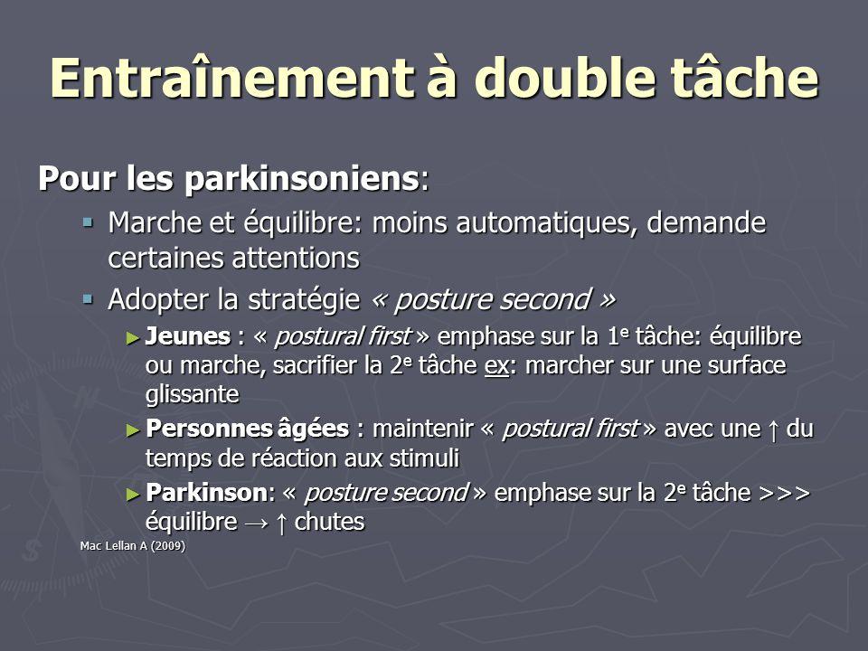 Entraînement à double tâche Pour les parkinsoniens: Marche et équilibre: moins automatiques, demande certaines attentions Marche et équilibre: moins a
