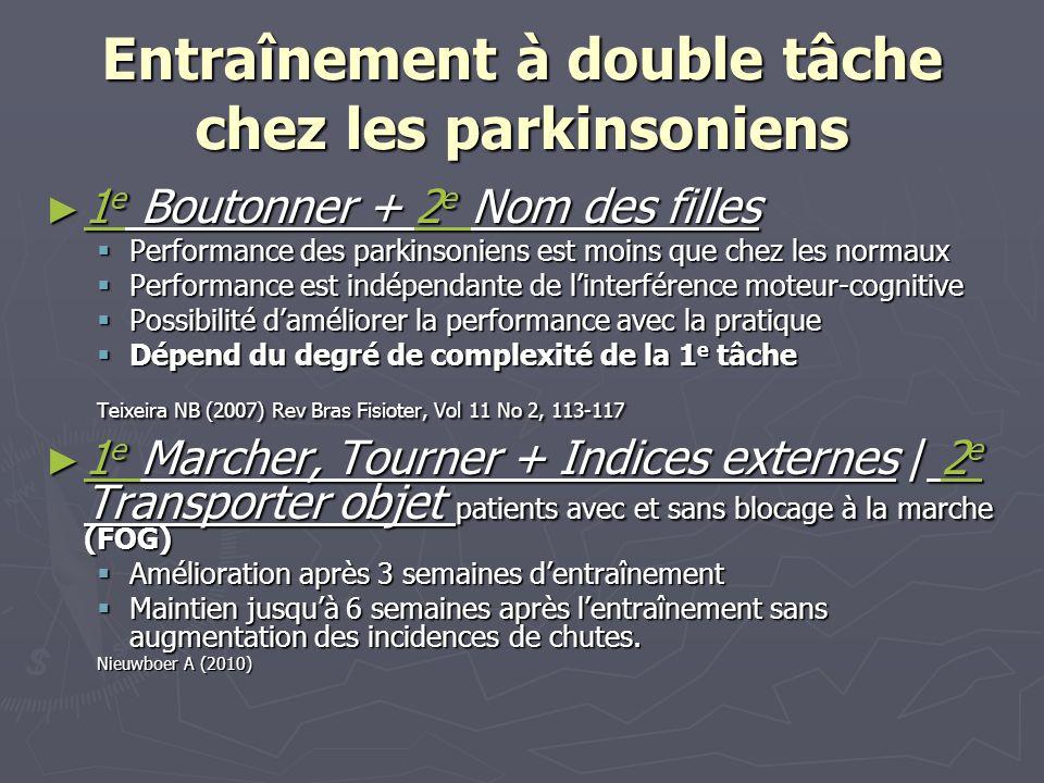 Entraînement à double tâche chez les parkinsoniens 1 e Boutonner + 2 e Nom des filles 1 e Boutonner + 2 e Nom des filles Performance des parkinsoniens