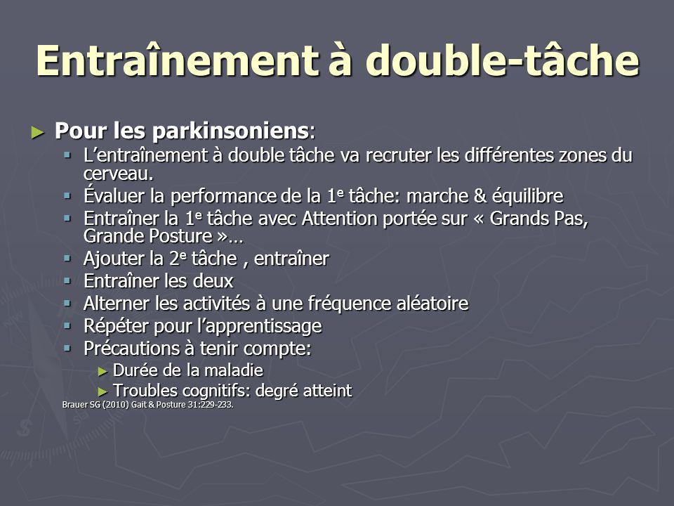 Entraînement à double-tâche Pour les parkinsoniens: Pour les parkinsoniens: Lentraînement à double tâche va recruter les différentes zones du cerveau.