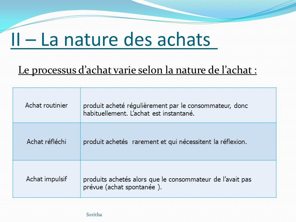 II – La nature des achats Le processus dachat varie selon la nature de lachat : Achat routinierproduit acheté régulièrement par le consommateur, donc
