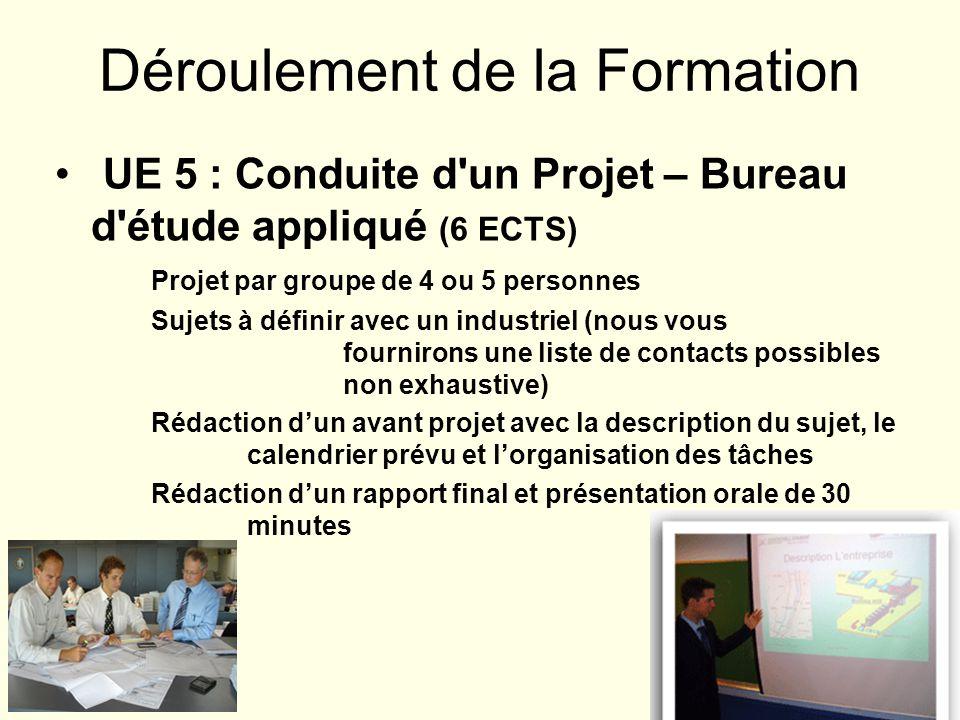 Déroulement de la Formation UE 5 : Conduite d'un Projet – Bureau d'étude appliqué (6 ECTS) Projet par groupe de 4 ou 5 personnes Sujets à définir avec