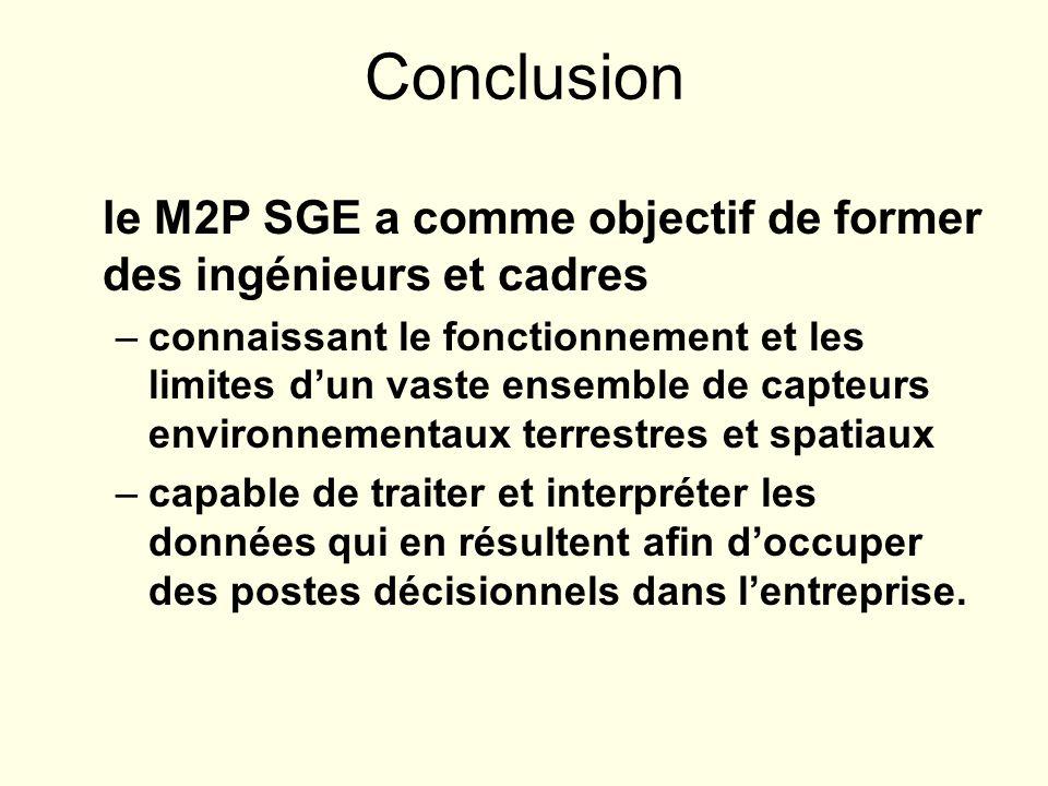 Conclusion le M2P SGE a comme objectif de former des ingénieurs et cadres –connaissant le fonctionnement et les limites dun vaste ensemble de capteurs