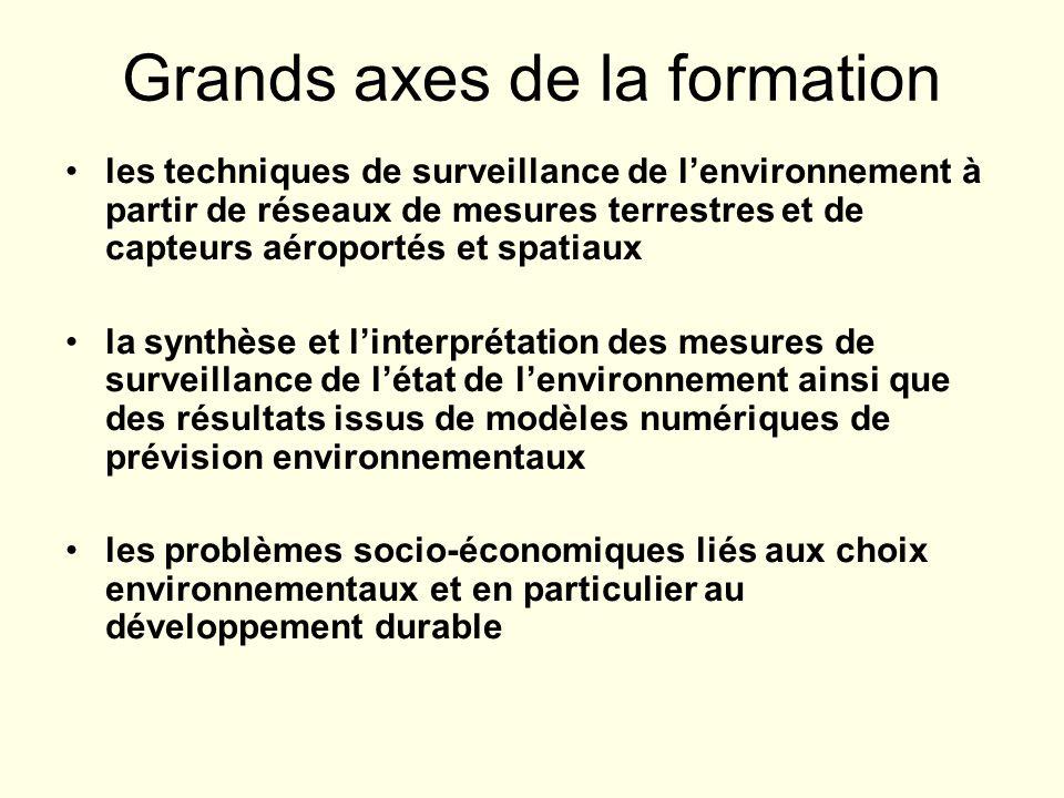 Grands axes de la formation les techniques de surveillance de lenvironnement à partir de réseaux de mesures terrestres et de capteurs aéroportés et sp