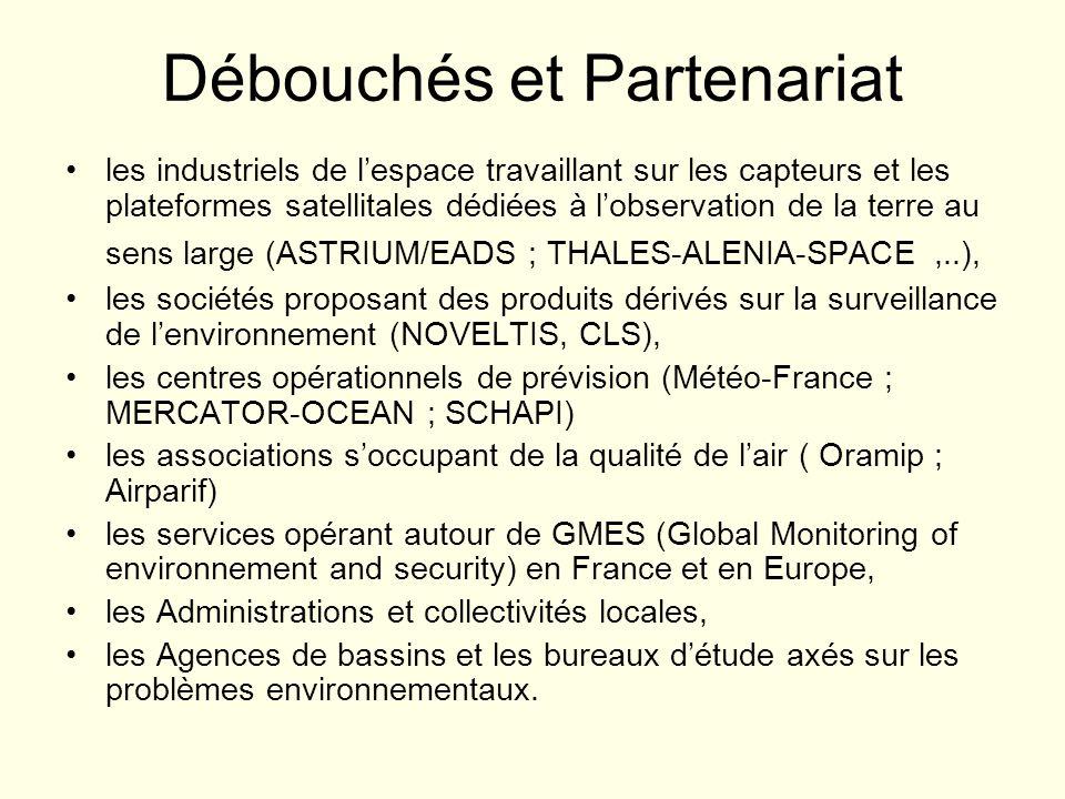 Débouchés et Partenariat les industriels de lespace travaillant sur les capteurs et les plateformes satellitales dédiées à lobservation de la terre au