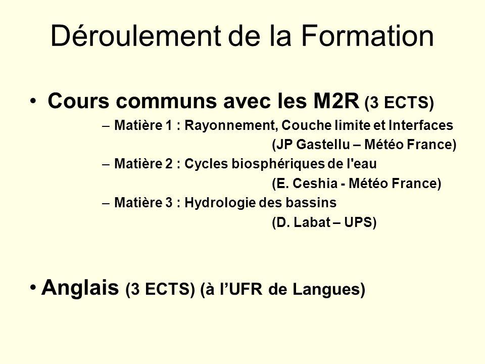 Cours communs avec les M2R (3 ECTS) –Matière 1 : Rayonnement, Couche limite et Interfaces (JP Gastellu – Météo France) –Matière 2 : Cycles biosphériqu
