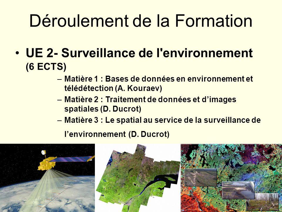 UE 2- Surveillance de l'environnement (6 ECTS) –Matière 1 : Bases de données en environnement et télédétection (A. Kouraev) –Matière 2 : Traitement de