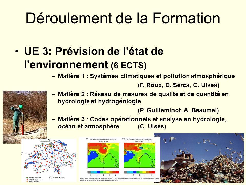 UE 3: Prévision de l'état de l'environnement (6 ECTS) –Matière 1 : Systèmes climatiques et pollution atmosphérique (F. Roux, D. Serça, C. Ulses) –Mati
