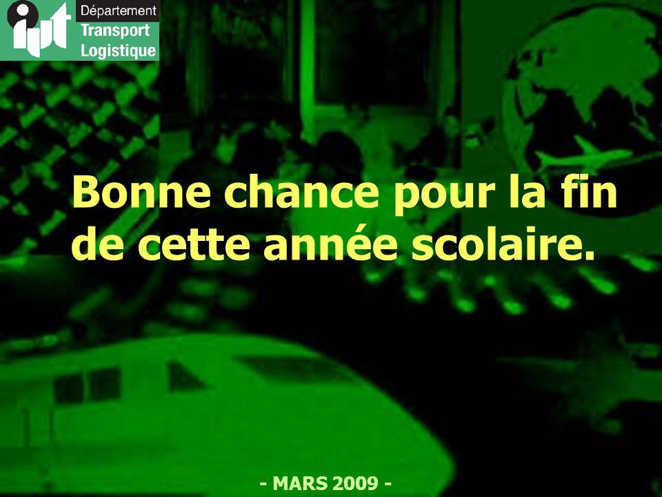 - MARS 2009 - Bonne chance pour la fin de cette année scolaire.