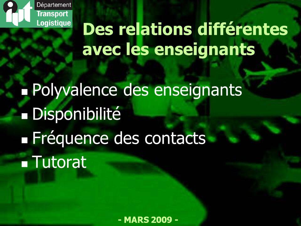 - MARS 2009 - Des relations différentes avec les enseignants Polyvalence des enseignants Disponibilité Fréquence des contacts Tutorat