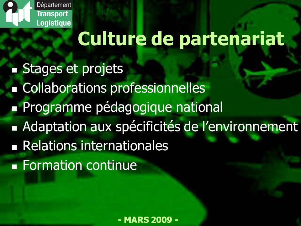 - MARS 2009 - Culture de partenariat Stages et projets Collaborations professionnelles Programme pédagogique national Adaptation aux spécificités de lenvironnement Relations internationales Formation continue