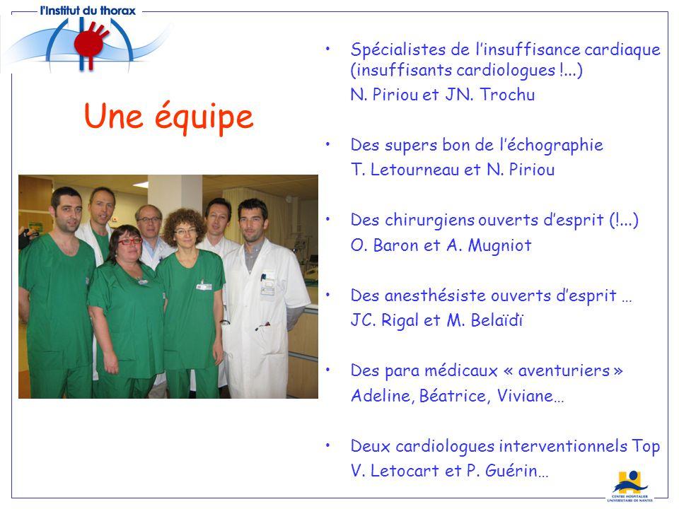Une équipe Spécialistes de linsuffisance cardiaque (insuffisants cardiologues !...) N. Piriou et JN. Trochu Des supers bon de léchographie T. Letourne