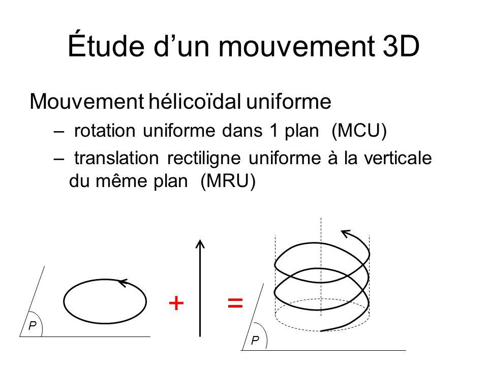 Étude dun mouvement 3D Mouvement hélicoïdal uniforme – rotation uniforme dans 1 plan (MCU) – translation rectiligne uniforme à la verticale du même pl
