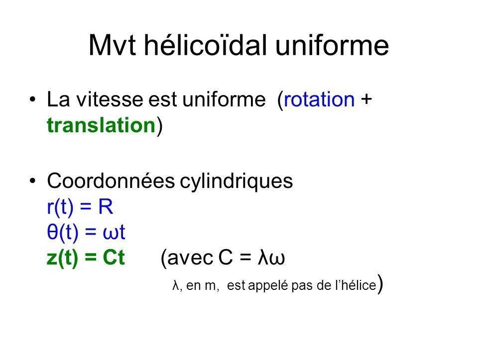 Mvt hélicoïdal uniforme La vitesse est uniforme (rotation + translation) Coordonnées cylindriques r(t) = R θ(t) = ωt z(t) = Ct (avec C = λω λ, en m, e