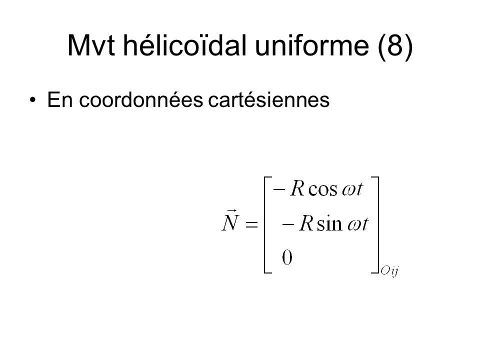 Mvt hélicoïdal uniforme (8) En coordonnées cartésiennes