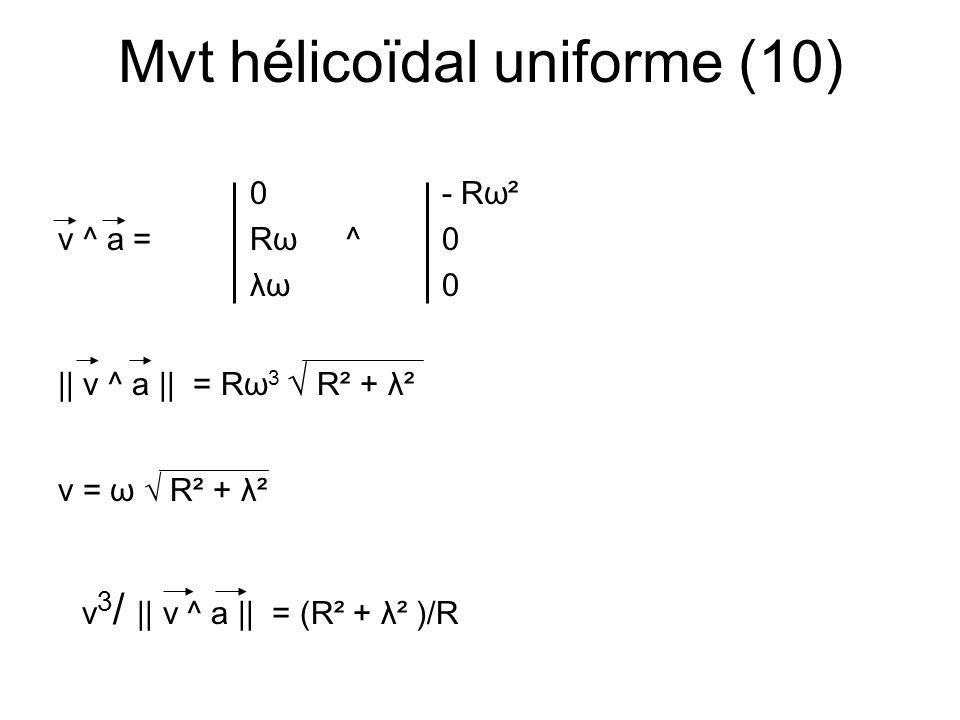 Mvt hélicoïdal uniforme (10) 0- Rω²00 v ^ a =Rω^0= - Rλω 3 = Rω 3 -λ λω0R²ω 3 R || v ^ a || = Rω 3 R² + λ² v = ω R² + λ² v 3 / || v ^ a || = (R² + λ²