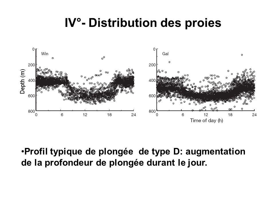 IV°- Distribution des proies Profil typique de plongée de type D: augmentation de la profondeur de plongée durant le jour.