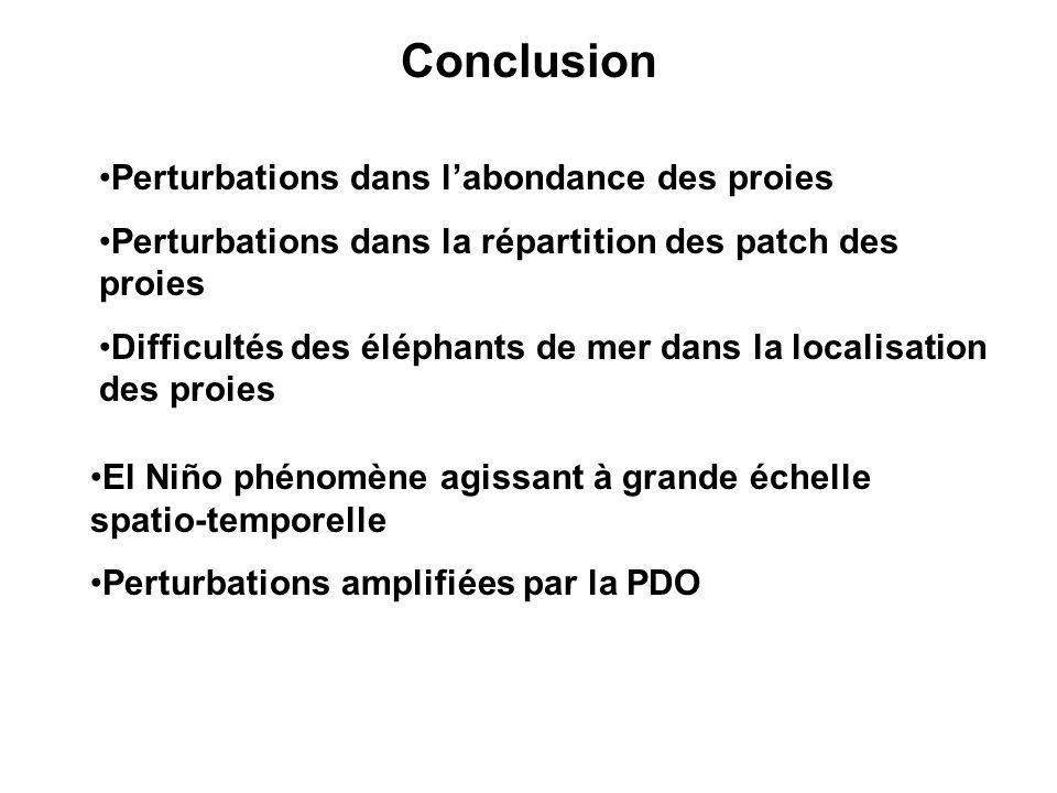 Conclusion Perturbations dans labondance des proies Perturbations dans la répartition des patch des proies Difficultés des éléphants de mer dans la localisation des proies El Niño phénomène agissant à grande échelle spatio-temporelle Perturbations amplifiées par la PDO