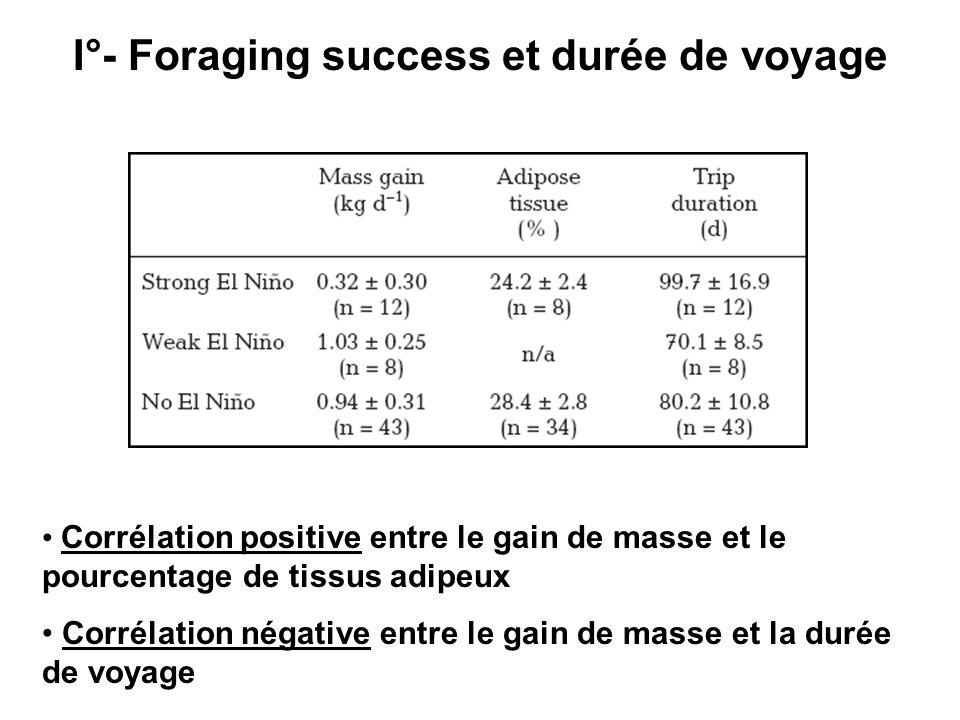 I°- Foraging success et durée de voyage Corrélation positive entre le gain de masse et le pourcentage de tissus adipeux Corrélation négative entre le gain de masse et la durée de voyage