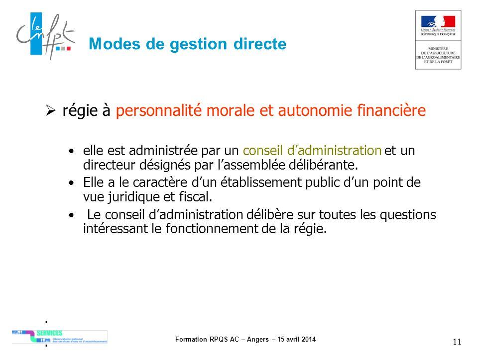 Formation RPQS AC – Angers – 15 avril 2014 11 Modes de gestion directe régie à personnalité morale et autonomie financière elle est administrée par un