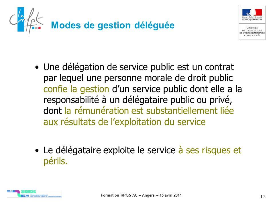 Formation RPQS AC – Angers – 15 avril 2014 12 Modes de gestion déléguée Une délégation de service public est un contrat par lequel une personne morale