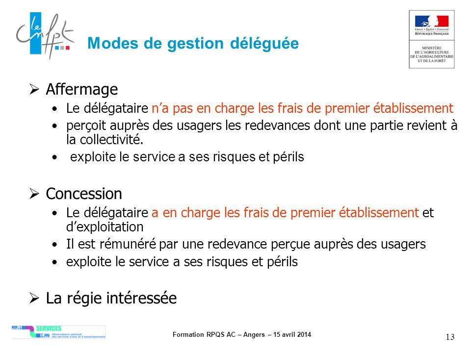 Formation RPQS AC – Angers – 15 avril 2014 13 Modes de gestion déléguée Affermage Le délégataire na pas en charge les frais de premier établissement p