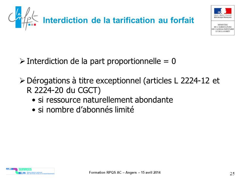 Formation RPQS AC – Angers – 15 avril 2014 25 Interdiction de la tarification au forfait Interdiction de la part proportionnelle = 0 Dérogations à tit