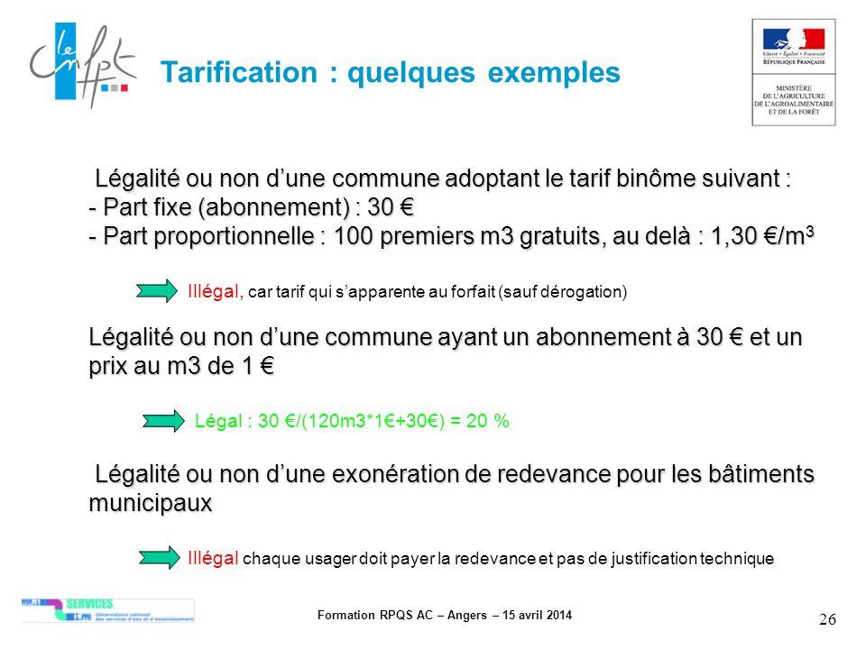Formation RPQS AC – Angers – 15 avril 2014 26 Tarification : quelques exemples Légalité ou non dune exonération de redevance pour les bâtiments munici