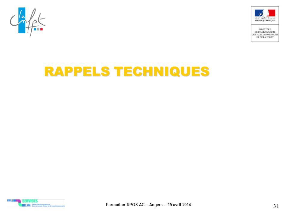 Formation RPQS AC – Angers – 15 avril 2014 31 RAPPELS TECHNIQUES