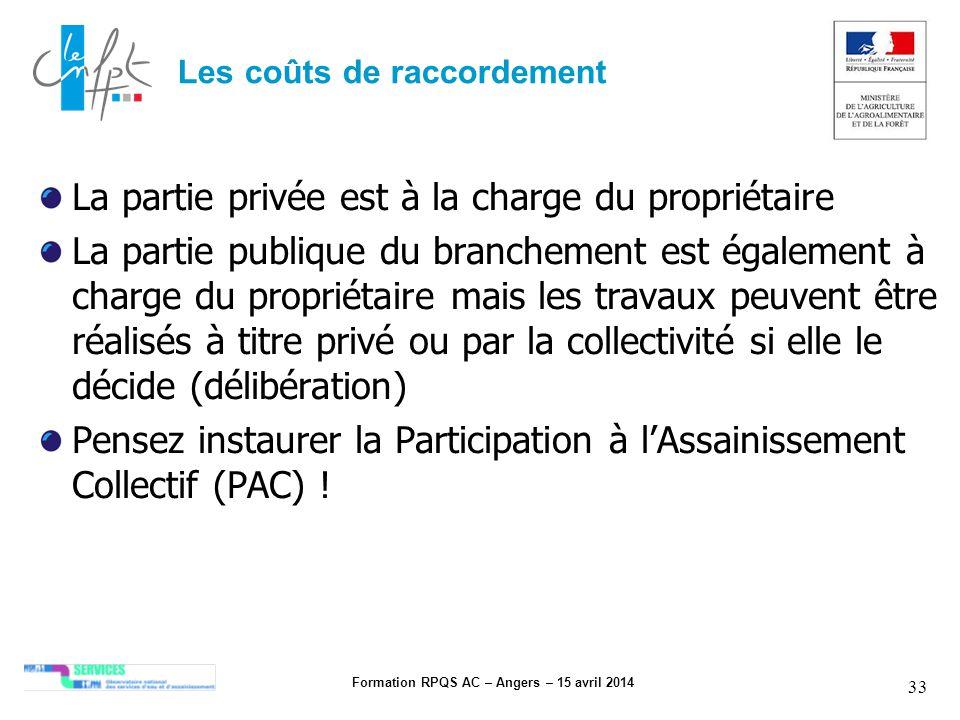 Formation RPQS AC – Angers – 15 avril 2014 33 Les coûts de raccordement La partie privée est à la charge du propriétaire La partie publique du branche