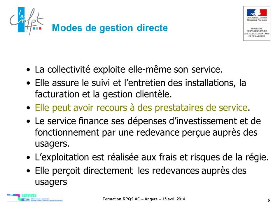 Formation RPQS AC – Angers – 15 avril 2014 8 Modes de gestion directe La collectivité exploite elle-même son service. Elle assure le suivi et lentreti