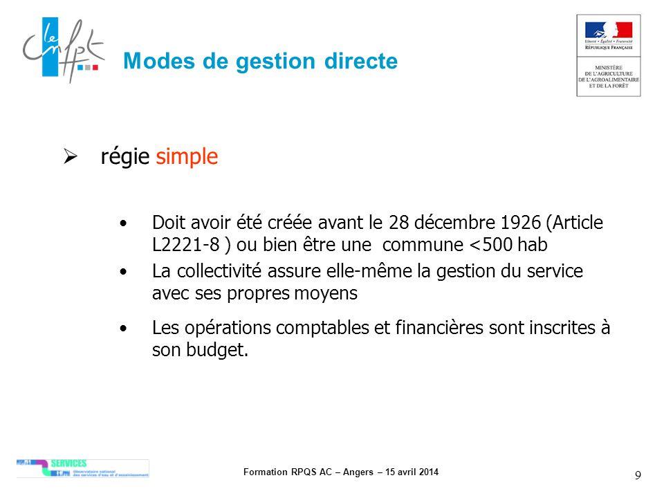 Formation RPQS AC – Angers – 15 avril 2014 9 Modes de gestion directe régie simple Doit avoir été créée avant le 28 décembre 1926 (Article L2221-8 ) o