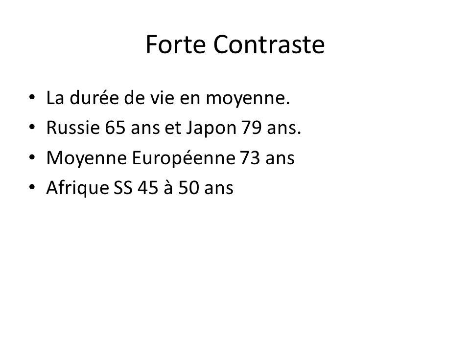 Forte Contraste La durée de vie en moyenne. Russie 65 ans et Japon 79 ans. Moyenne Européenne 73 ans Afrique SS 45 à 50 ans
