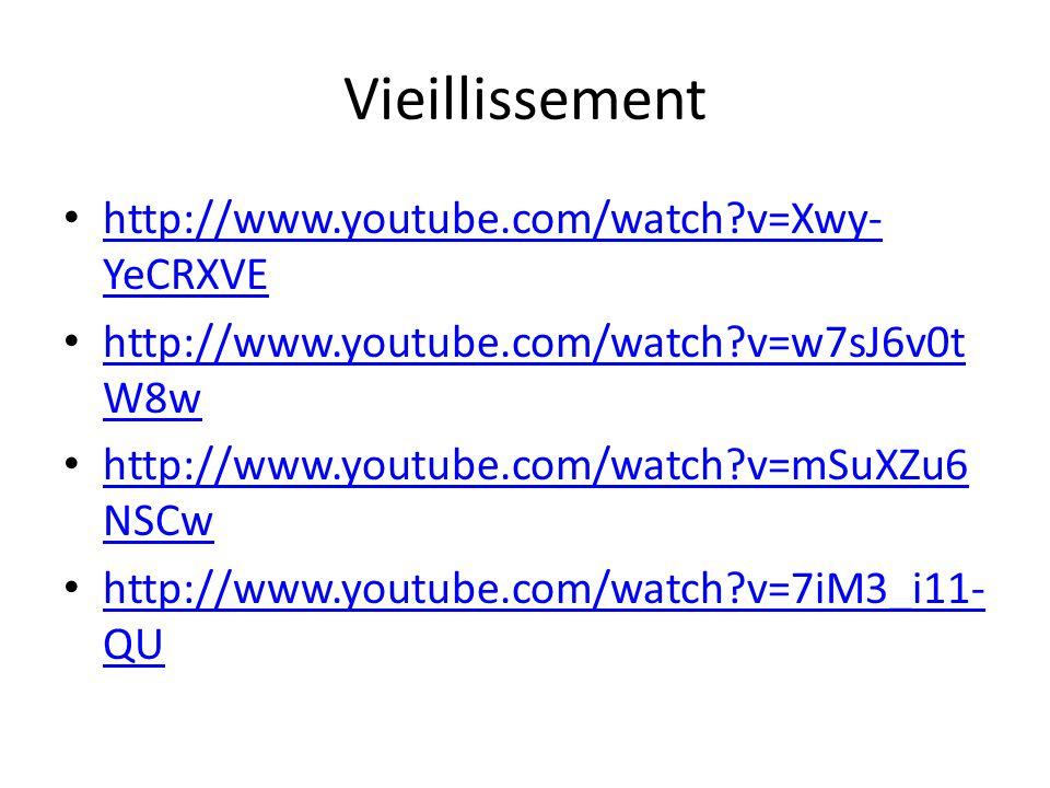 Vieillissement http://www.youtube.com/watch?v=Xwy- YeCRXVE http://www.youtube.com/watch?v=Xwy- YeCRXVE http://www.youtube.com/watch?v=w7sJ6v0t W8w htt