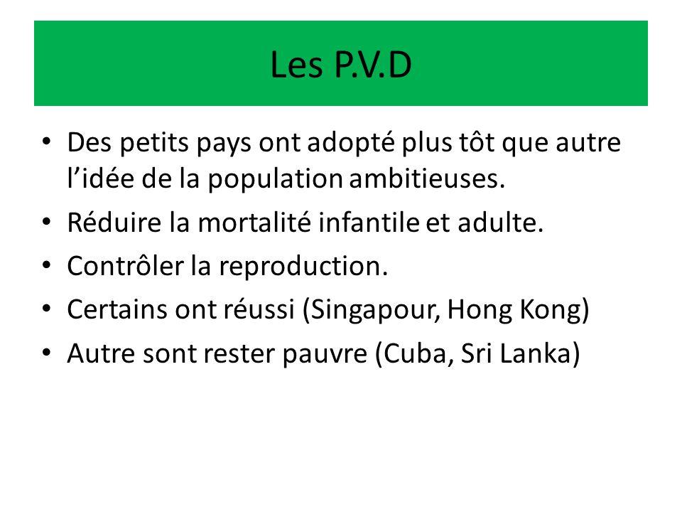 Les P.V.D Des petits pays ont adopté plus tôt que autre lidée de la population ambitieuses. Réduire la mortalité infantile et adulte. Contrôler la rep