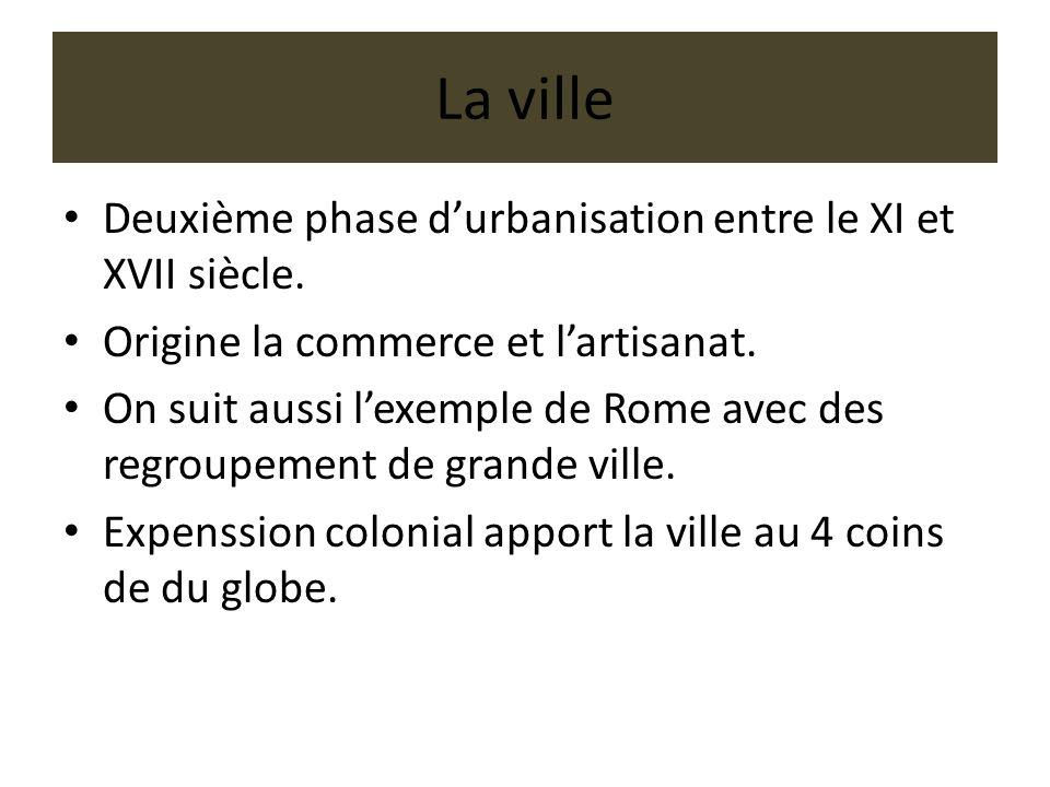 La ville Deuxième phase durbanisation entre le XI et XVII siècle. Origine la commerce et lartisanat. On suit aussi lexemple de Rome avec des regroupem
