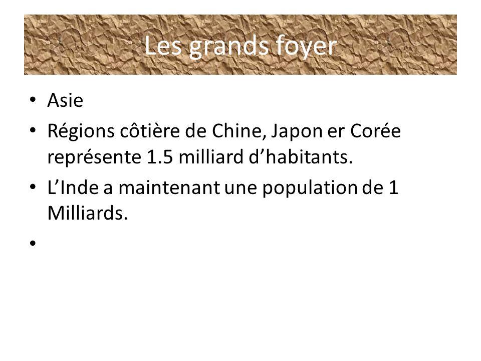 Les grands foyer Asie Régions côtière de Chine, Japon er Corée représente 1.5 milliard dhabitants. LInde a maintenant une population de 1 Milliards.