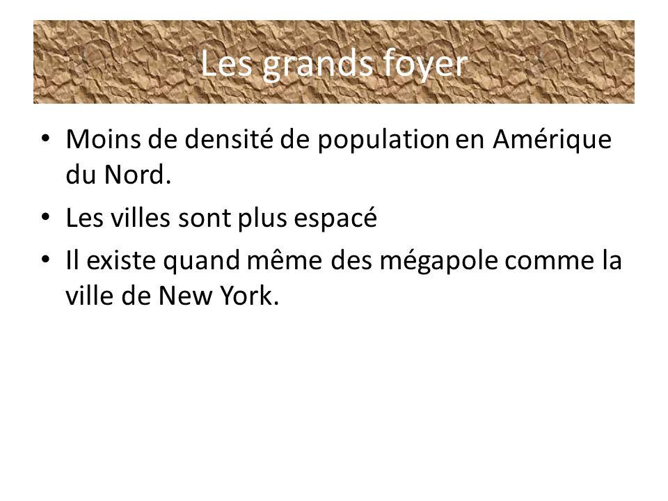Les grands foyer Moins de densité de population en Amérique du Nord. Les villes sont plus espacé Il existe quand même des mégapole comme la ville de N