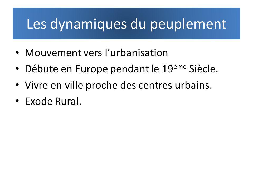 Les dynamiques du peuplement Mouvement vers lurbanisation Débute en Europe pendant le 19 ème Siècle. Vivre en ville proche des centres urbains. Exode