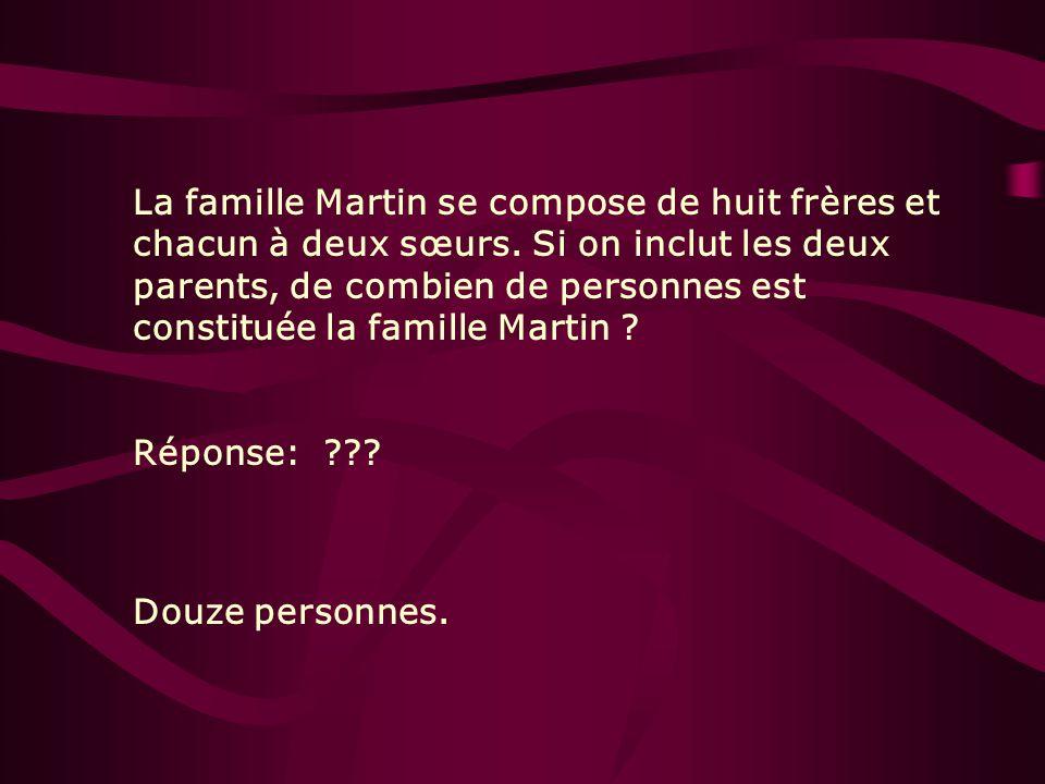 La famille Martin se compose de huit frères et chacun à deux sœurs. Si on inclut les deux parents, de combien de personnes est constituée la famille M