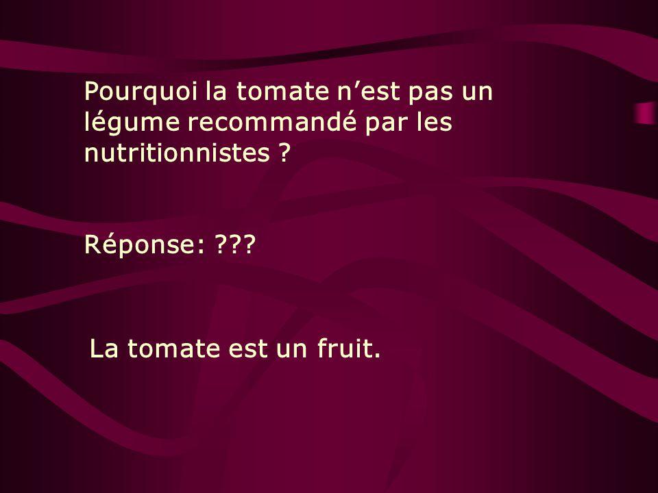 Pourquoi la tomate nest pas un légume recommandé par les nutritionnistes ? Réponse: ??? La tomate est un fruit.