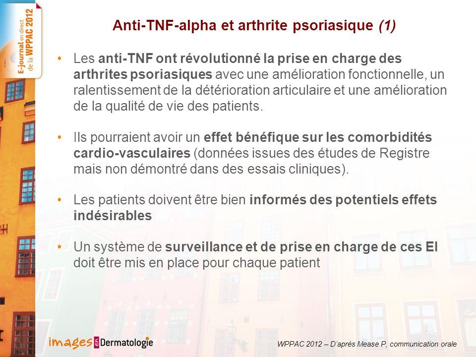 Anti-TNF-alpha et arthrite psoriasique (1) Les anti-TNF ont révolutionné la prise en charge des arthrites psoriasiques avec une amélioration fonctionn
